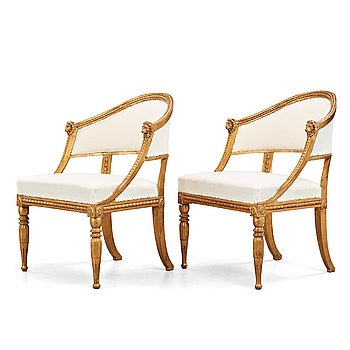 16. A pair of late Gustavian armchairs, circa 1800.