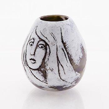 ELLA VARVIO, A glass vase/ sculpture, signed Ella Varvio 2018.