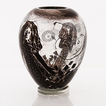 ELLA VARVIO, a glass vase/ sculpture, signed Ella Varvio 2018.