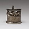A fabergé silver tea-glass holder, moscow 1908-1917. scratched inventory number 21172. imperial warrant.