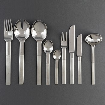 A 71-piece steel 'Nobel' cutlery service by Gunnar Cyrén.