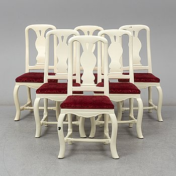 A set of six late Baroque chairs, 18th century.