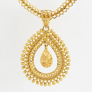 HÄNGE SAMT HALSLÄNK, 22K guld, Indien.