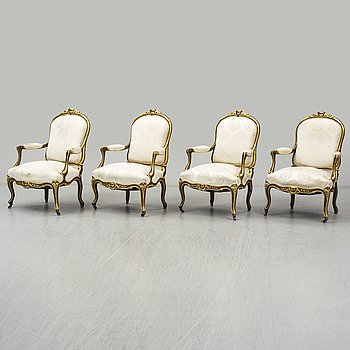 A set of four 19th century Louis XV-style armchairs.