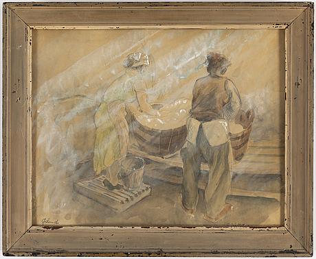 Josef lund, akvarell, signerad