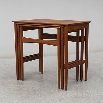 HANS J WEGNER, a three piece nesting table, Andreas Tuck, Denmark, second half of the 20th century.