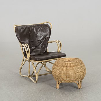A BAMBOO ARMCHAIR WITH STOOL.