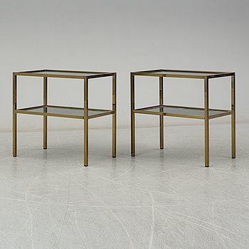 a pair of 1980's brass lamp tables.