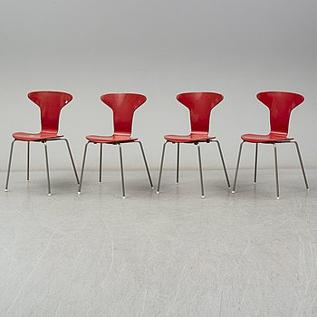 "ARNE JACOBSEN, a set of four ""Myggan""/ modell 3105, Fritz Hansen Danmark."