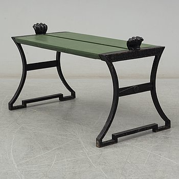 FOLKE BENSOW, a 'Snecan' cast iron carden bench from Byarums Bruk, sesigned in 1923.