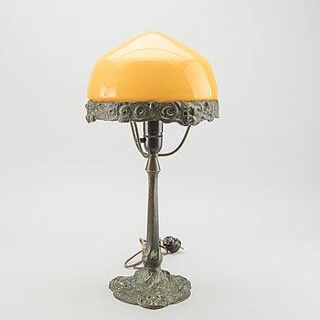 ALICE NORDIN, tillskriven. Bordslampa, brons, jugend, Böhlmarks, tidigt 1900-tal.