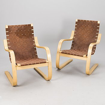 ALVAR AALTO, Two '406' open armchairs for Artek, Finland, end of the 20th Century.