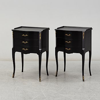 A second half of the 20th Century rococo style pair of bedside drawers.