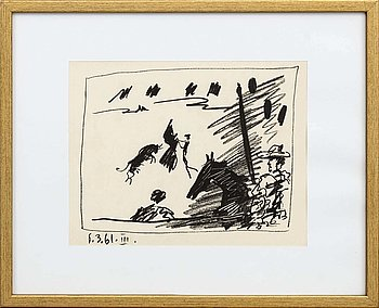 PABLO PICASSO, lithographe, dated 6.3.61.III in print.