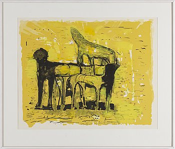STAFFAN HALLSTRÖM, lithograph in colours with mixed media, signed 17/75. Dated 1968.