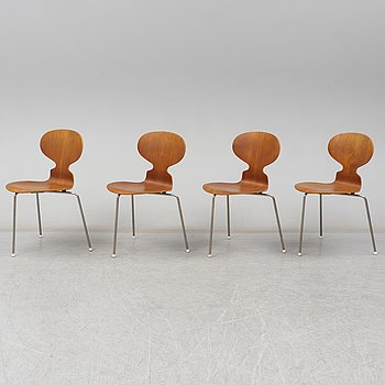 ARNE JACOBSEN, four teak 'Myran' chairs. Fritz Hansen Denmark.