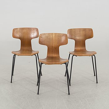 ARNE JACOBSEN, a set of three T-stolen Fritz Hansen Denmark alter part of the 20th century.