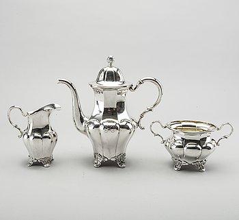 KAFFESERVIS, silver, 3 delar, GAB AB, 1932-33, 1330g.