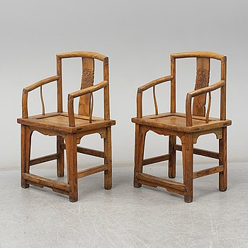A pair of second half of the 19th century arm chairs.