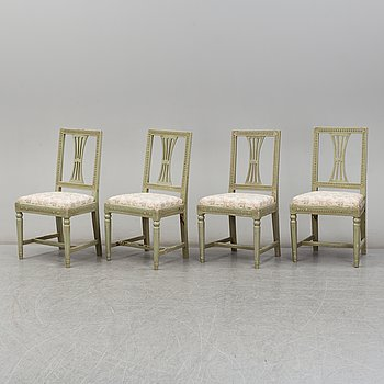 Four late 18th century Gustavian chairs.