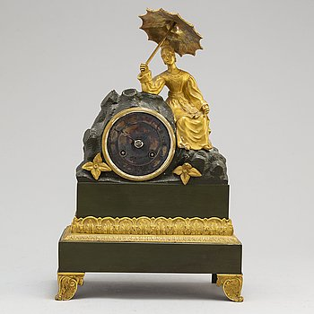 A late Empire bronze mantel clock, mid 19th Century.
