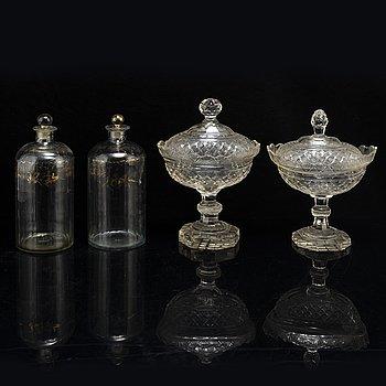 Skålar med lock, 2 st, glas samt flaskor, ett par, 1800-tal.