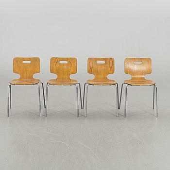 LARS EWÖ, a set of four chairs Åry Stålmöbler 1970's.