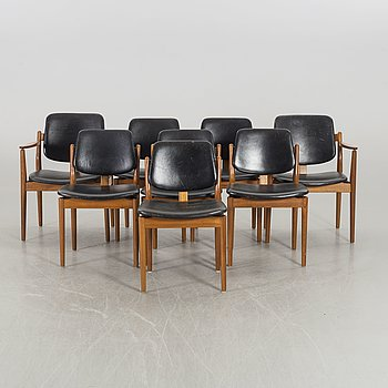 A SET OF 6+2 ARNE VODDER CHAIRS, Sibast möbler, Denmark.