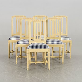 A set of six Odenslunda IKEA chairs.