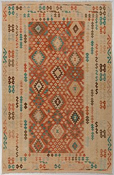 a carpet, kilim, around 298 x 196 cm.