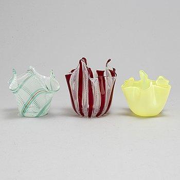 Three Fazzoletto glass bowls, one signed Venini Murano.