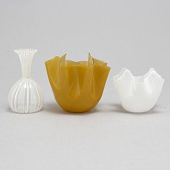Three glass vases, one signed Venini Murano.