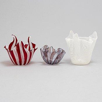 FULVIO BIANCONI & PAOLO VENINI, three glass bowls, Venini Murano.