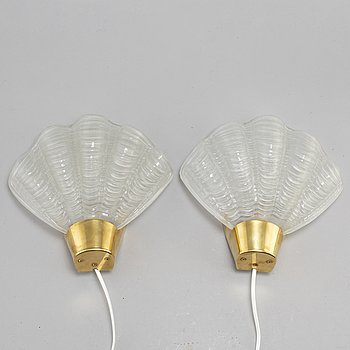 A pair of ASEA shell shaped glass wall lamps, 1940's.