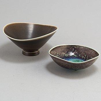 BERNDT FRIBERG, two stoneware bowls from Gustavsberg Studio.