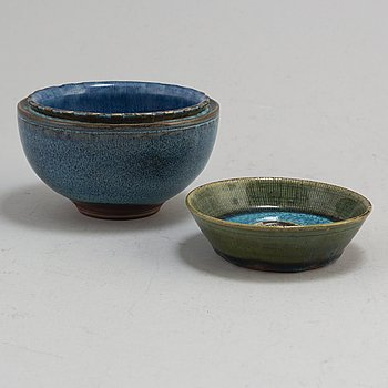 WILHELM KÅGE, two 'Farsta' stoneware bowl from Gustavsberg Studio.