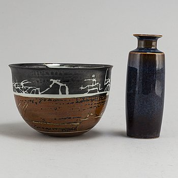 CARL-HARRY STÅLHANE, a stoneware vase and bowl from Rörstrand and Designhuset.