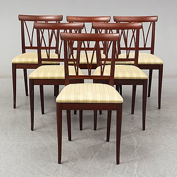 A set of six Carl Malmsten chairs, second half of the 20th century. Signed with label.