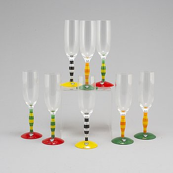 Eight 'Polka' champagen glasses by Anne NIlsson, signed, Orrefors, 1990s.