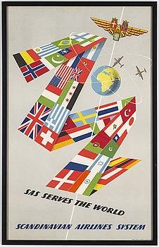OLLE SVENSSON, a Scandinavian Airlines System (SAS) vintage travel poster, 1952.