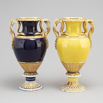 A pair of late 19th Century porcelain vases from Meissen, Germany.
