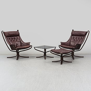 A pair of 1970s 'Falcon' easy chairs and foot stool and coffee table by Sigurd Ressel, Vatne Möbler, Norway.