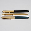 Three gold plated pens from parker and madison.