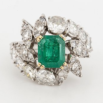 Diamond and emerald ring.