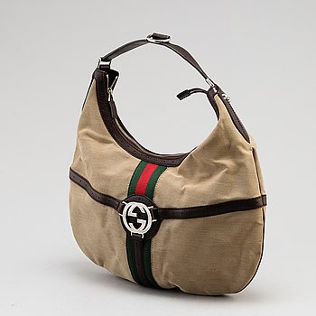 GUCCI, canvas and leather bag.