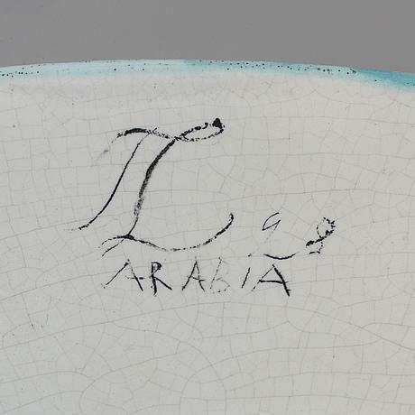 Tyra lundgren, fat på fot, fajans, arabia, signerad tl och daterat 28