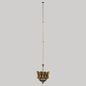 A mid 20th century brass ceiling light by Knut Hallgren.