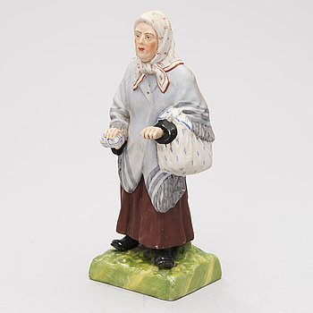 A Russian Gardner bisque porcelain figurine, late 19th century.