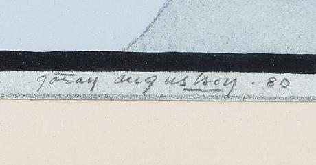GÖran augustson, gouache, blandteknik, signerad och daterad  80