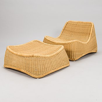 NANNA DITZEL, a 21st century Danish 'Chill' lounge chair with stool.